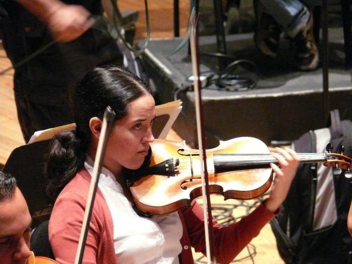 Isabel Camacho. Durante la grabación